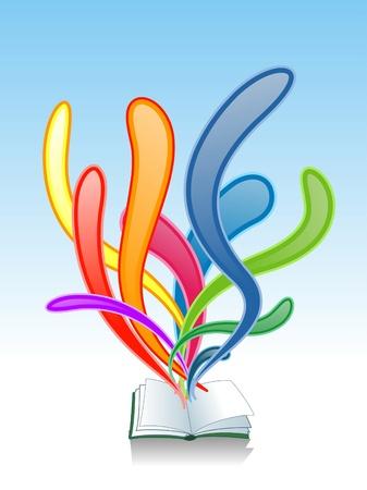 electronic book: Splashing Book Illustration