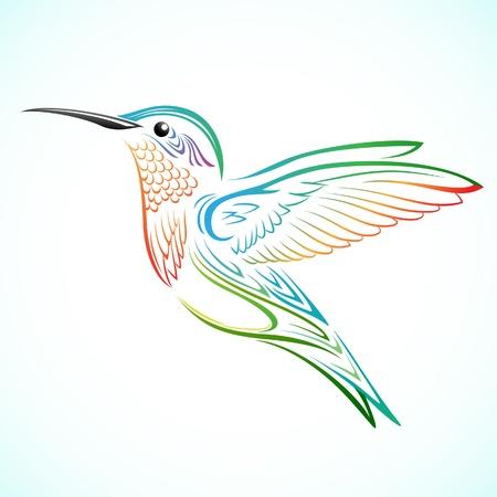 duif tekening: Kleurrijke Hummingbird Stock Illustratie
