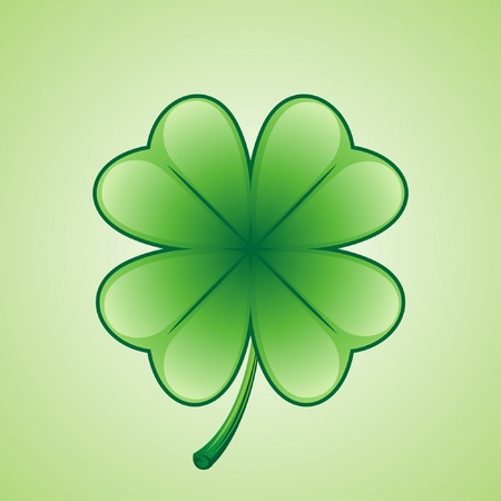 four objects: Lucky 4 leaf clover