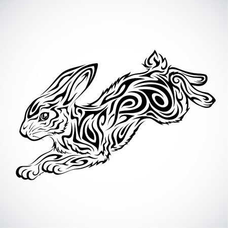 cute rabbit: Jumping Rabbit Tribal Tattoo