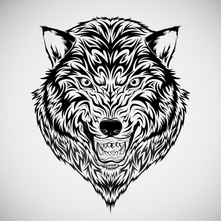 tatouage: Tatouage t�te du loup Illustration