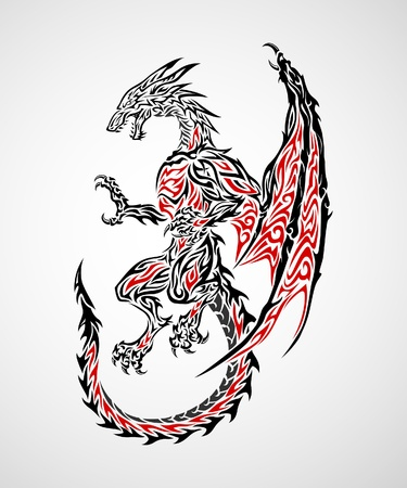 Dragon tribal tattoo Stock Vector - 15214668