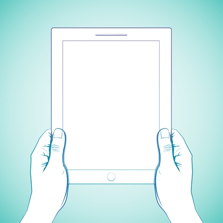 multi touch: 2 hand hold 10 inch tablet lineart