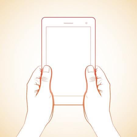 multi touch: 2 hand hold 7 inch tablet lineart Illustration