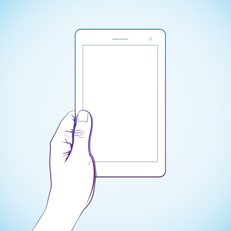 multi touch: Hand hold 7 inch tablet lineart Illustration