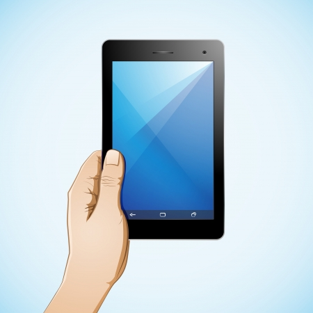 multi touch: Hand hold 7 inch tablet full color Illustration