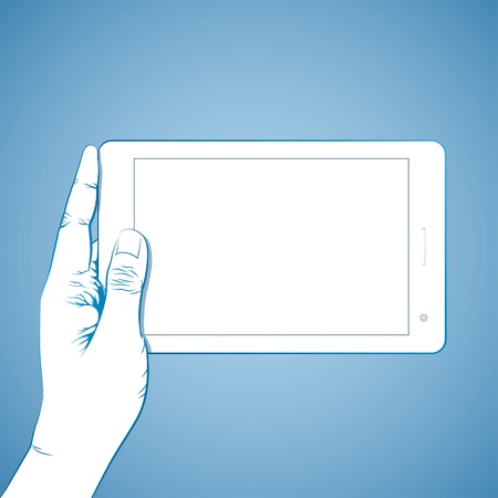 colofrul: Hand hold 7 inch tablet lineart Illustration