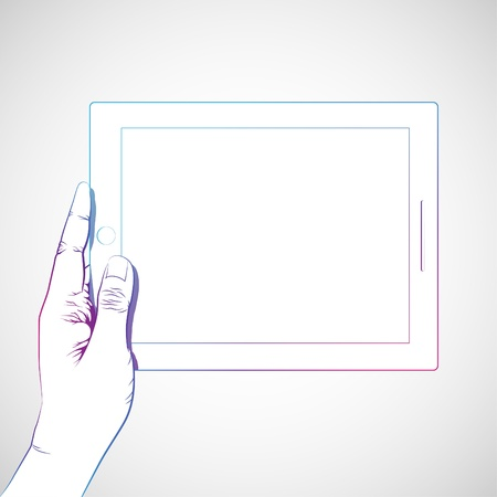 multi touch: Hand hold 10 inch tablet lineart Illustration