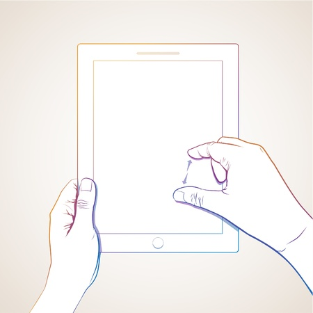 pinch: Hand pinch 10 inch tablet lineart Illustration