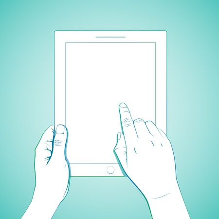 multi touch: Hand touch 10 inch tablet lineart