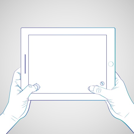 multitouch: Hand playing game on 10 inch tablet