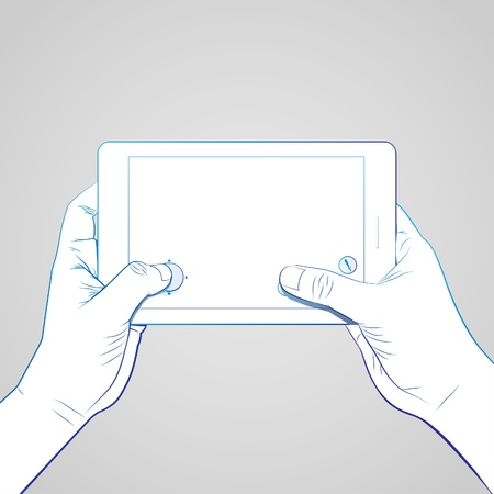 multi touch: Hand playing game on 7 inch tablet