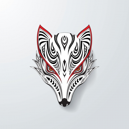 White Tribal Fox Vector