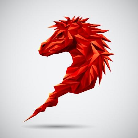 Rode Geometrische Paard Stock Illustratie