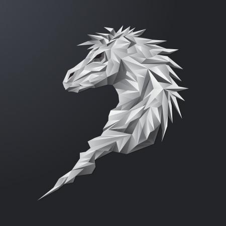 Grey geometric horse Çizim