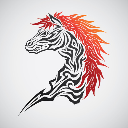 Horse head tribal tattoo Vector