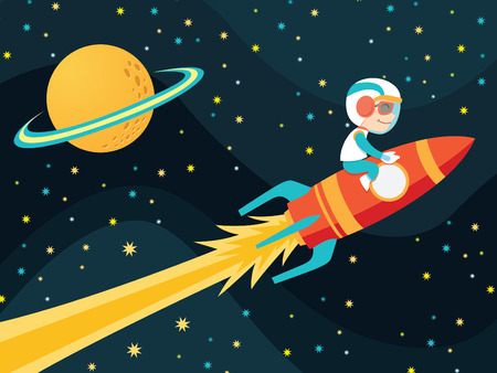 cartoon rocket: Rocket Boy Illustration