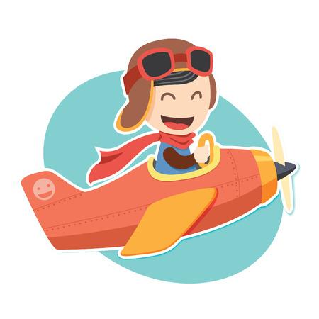 piloto: Piloto del muchacho pegatina Vectores