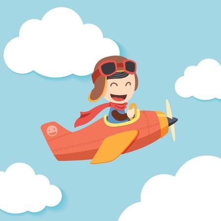 パイロットの少年  イラスト・ベクター素材
