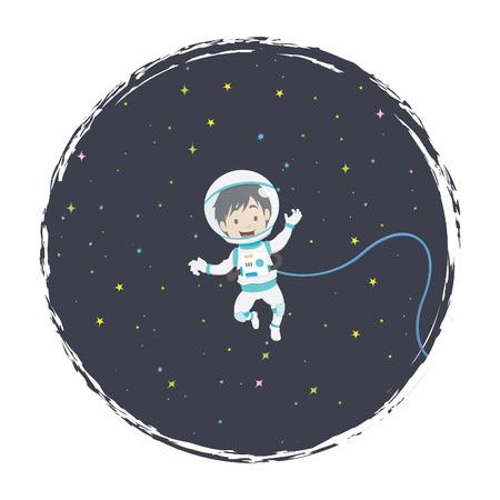 zero gravity: Space Boy Illustration