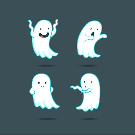 cute ghost: Funny cartoon ghost character