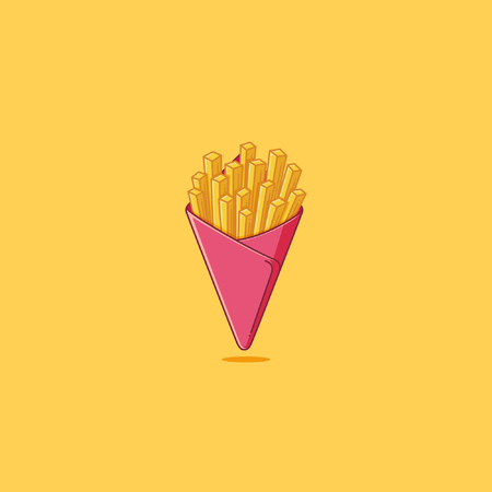 burger and fries: Simple french fries illustration Illustration