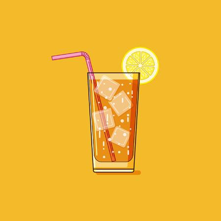 té helado: Simple esbozo té helado ilustración