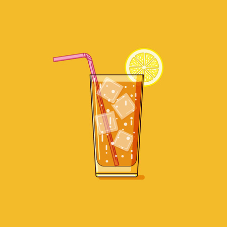 drink tea: Simple outline iced tea illustration Illustration