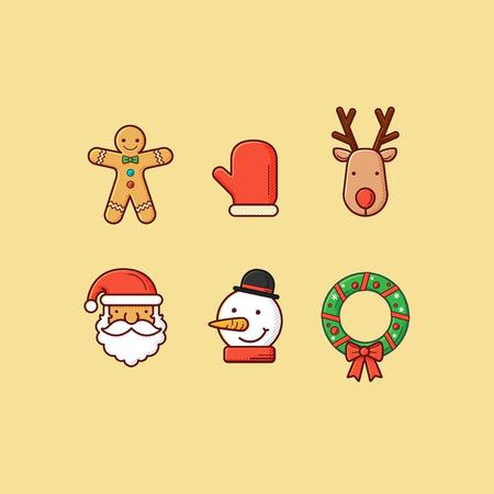 Set of simple christmas icon