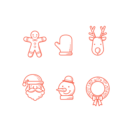 Set of outline christmas icon