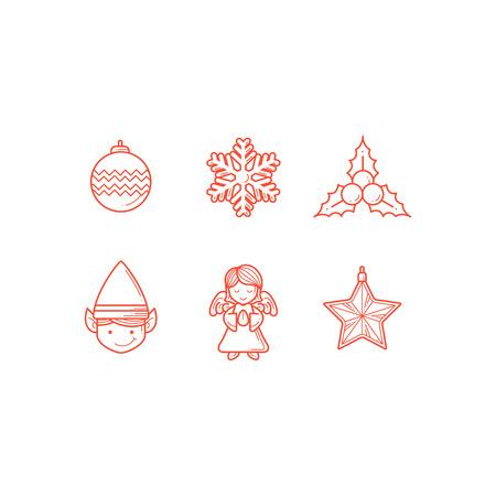 Set of christmas icon line
