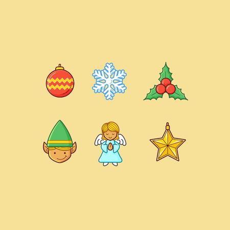 Set of christmas theme iconobjects
