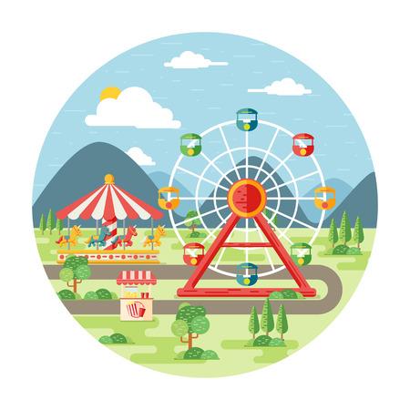 Carnival, amusement park flat illustration Çizim