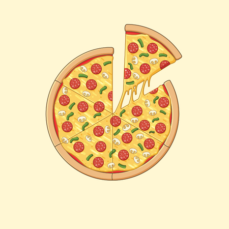 Illustration of pizza with pepperoni and mushroom