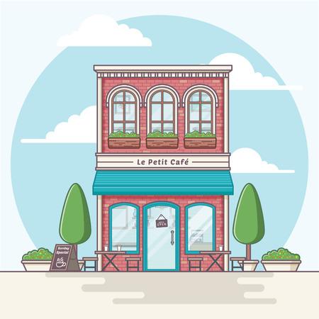Coffeeshop building illustration