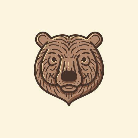 Bear head line illustration
