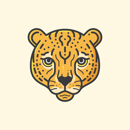 cheetah head line illustration Çizim
