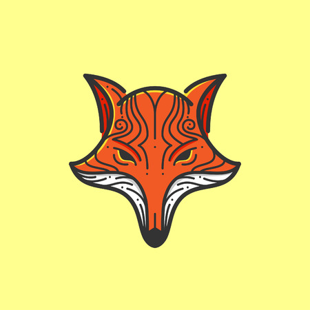 Fox head line illustration Çizim
