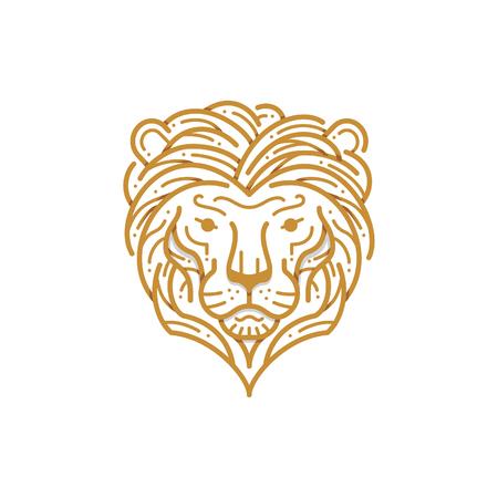 Lion head line illustration Çizim