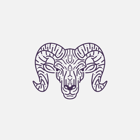 Ram, goat head illustration