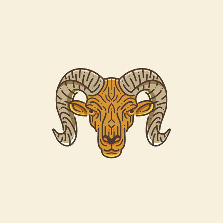 goat head: Ram, goat head illustration