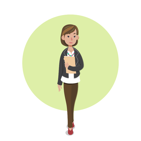 Illustration of casual businesswoman character Çizim