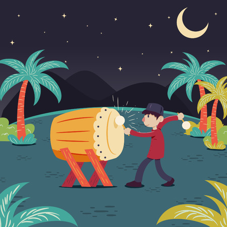 Man hitting drum celebrating ramadhan Çizim