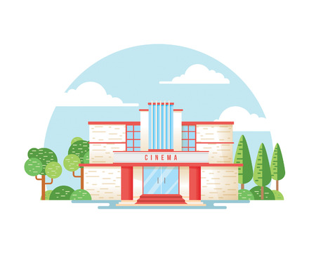 Movie theater, cinema building Çizim