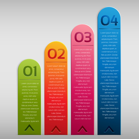 Vertical option label for infographic, design element. Font used is sansation.