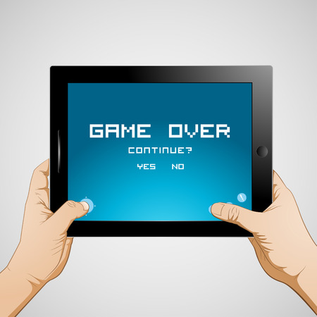 Hand playing game on tablet