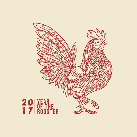 lucky: Vector illustration of chinese zodiac rooster, chinese new year 2017 Illustration