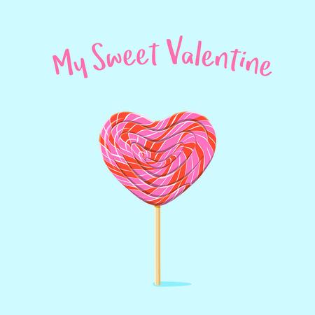 love shape: Heart shaped lollipop. Illustration