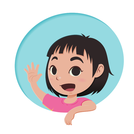 Cartoon little girl says hi