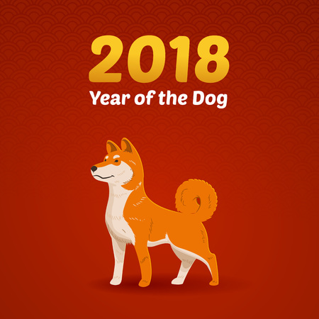 Chinese New Year of the Dog vector illustration Çizim